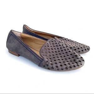 Franco Sarto Perforated Taupe Suede Flats Loafers
